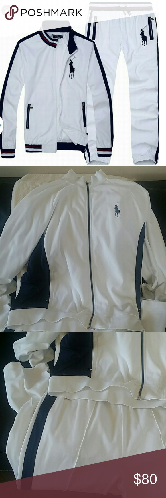 Men Polo Sport Ralph Laren Sweat Suit White Blue.. Recently dry cleaned. Has a faint stain on back of paints....near buttocks area...see last picture. two or 3 tiny snags on back of jacket..but not noticeable....60% Cotton 40% polyester . Drawstring pants. High collar jacket. Very Nice Suit.  If you need more pics...let me know.... Ralph Lauren Pants Sweatpants & Joggers