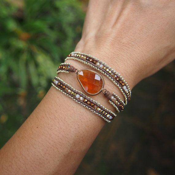 Brown Pendant mix wrap bracelet with chain, Boho bracelet, Bohemian bracelet, Beadwork bracelet