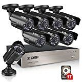 ZOSI 8-Channel 1080N HD Video Security System CCTV DVR 1TB Hard Drive + 8 Indoor/Outdoor 1.0MP 1280TVL Weatherproof Surveillance Security Camera System   ZOSI 8 channel 1080N H.264+ DVR with 720p indoor/ outdoor cameras for true day and night monitoring with 65ft IR range Get set up quickly and...