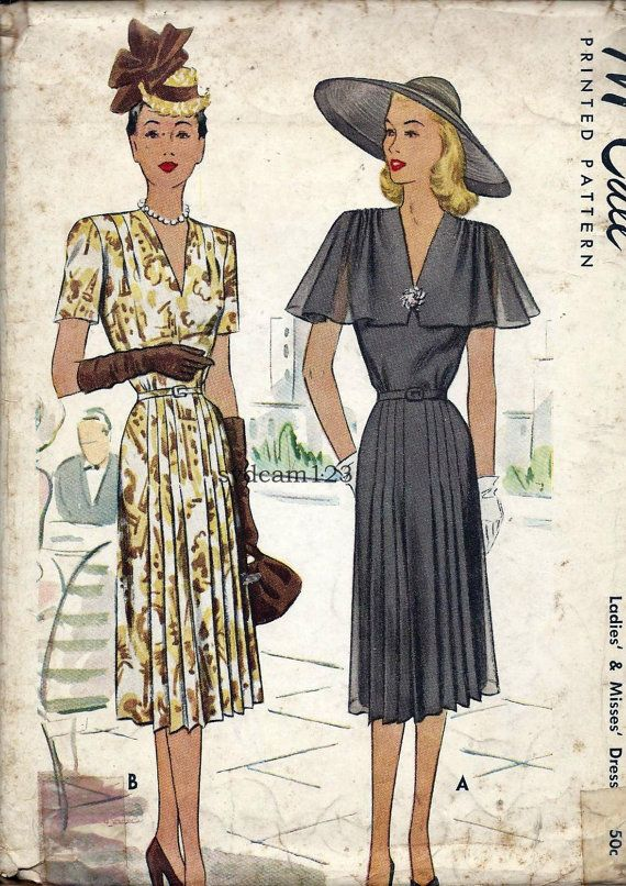 Vintage 1947 V Neck Dress Gathered Pleated Shoulders and Skirt...Capelet Sleeves...McCall 6936