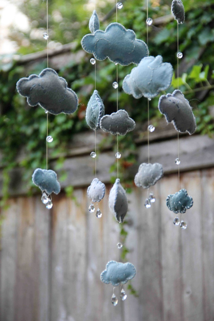 Blue and White Felt Cloud Mobile