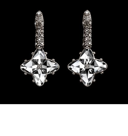Exhibitor: Otto Jakob  Stea Earrings of white gold, with articulated diamond chains and Renaissance inspired rock crystal rosettes.  Partially oxidized white gold, 172 diamonds, 2 rock crystal rosettes