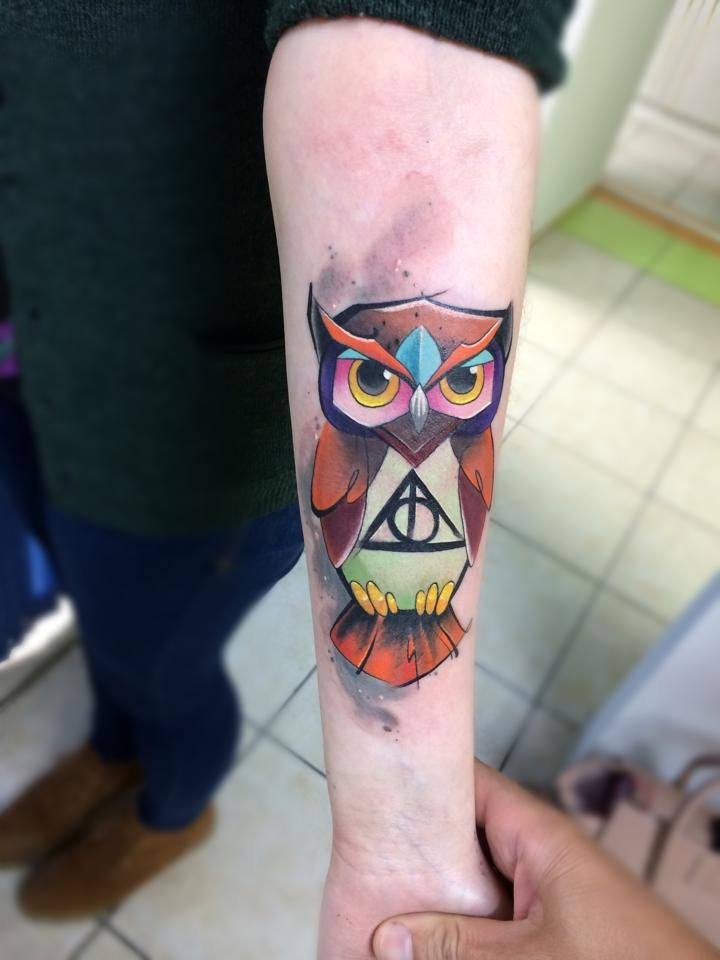 Awesome Colorful Geometric Owl Tattoo On Right Forearm Geometric Owl Tattoo Owl Tattoo Geometric Owl