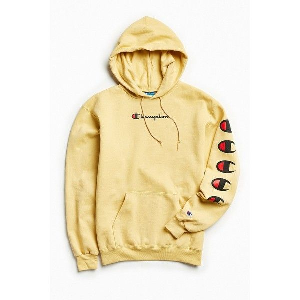 Champion Repeat Eco Hoodie Sweatshirt ($64) ❤ liked on Polyvore featuring tops, hoodies, hooded pullover sweatshirt, hooded pullover, sweater pullover, logo hoodies and champion hoodie