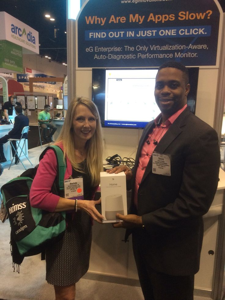 Congrats Andy Marina with Fayette Regional Health on winning the Google Home at HiMSS 2017! Accepting is CIO, Rhelinda McFadden.