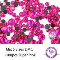 Новое Прибытие Mix 5 Размеры 1188 шт./упак. Супер Розовый Круглый Стекло Исправлениях Стразы Для Одежды Сумок И Обуви