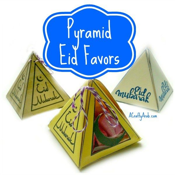 A Crafty Arab: Pyramid Eid Favor Boxes {Tutorial}. I love making candy favor boxes for our local eid parties. It's always fun to think of creative ways to give the kids little treats. Eid is the Arabic world for festival or holiday. It can mean eid milad, which is Arabic for birthday, or Eid Al Fitr, the holiday that ends the Islamic …