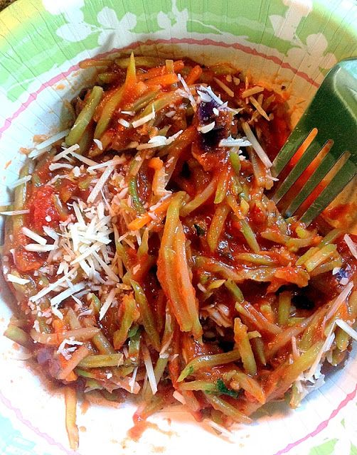 """Broccoli Slaw """"Pasta""""  Carb free!  It doesn't seem right but I might try it."""