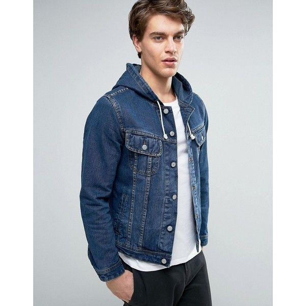 ASOS Hooded Denim Jacket in Mid Wash Indigo ($29) ❤ liked on Polyvore featuring men's fashion, men's clothing, men's outerwear, men's jackets, blue, mens blue jean jackets, mens tall denim jacket, mens hooded denim jacket, mens hooded jackets and tall mens jackets