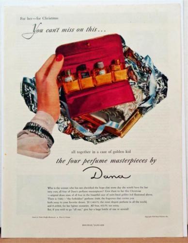 1949-Dana-Perfume-Photo-Print-Ad-Bottles-Tabu-20-Carats-Bracelet-Mauboussin