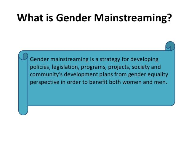 What is Gender Mainstreaming?  Gender mainstreaming is a strategy for…