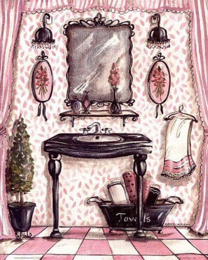 tocador de baño en rosa