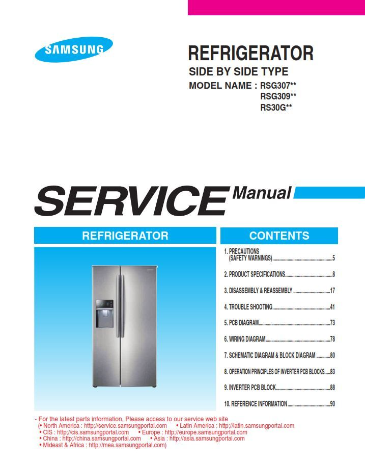 Samsung Rsg307aars Rsg309aars Refrigerator Service Manual And Repair Guide Refrigerator Service Repair Guide Samsung