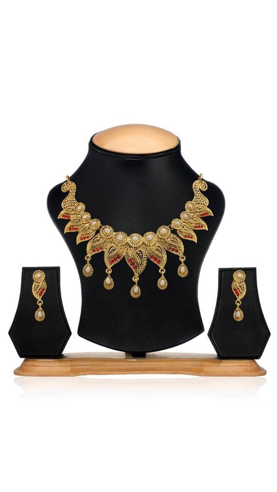 Indian Bollywood Red Stone White Pearl Gold Plated Women Earring Necklace Set #natural_gems15