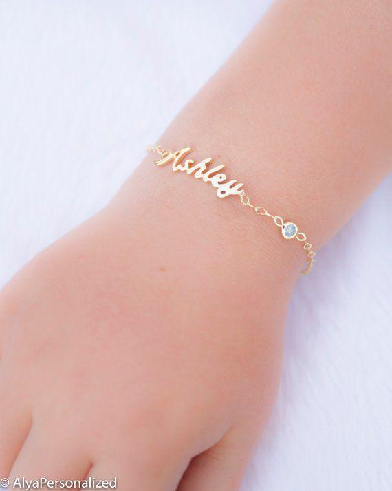 Dainty Name Chain Bracelet Tiny Name Bracelet Personalized Name Bracelet Rose Gold Bridesmaids Gift Baby Name Bracelet Birthday Gift