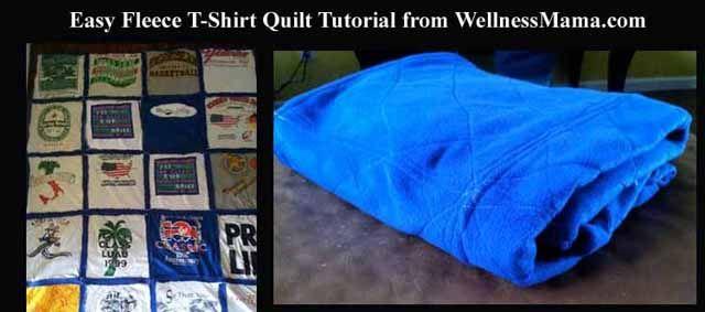 How to make a DIY Fleece T-Shirt Quilt- By FAR the easiest way to make a t-shirt quilt! Only takes a few hours!