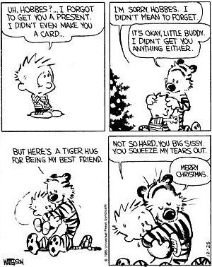 Calvin and Hobbes- gift giving.