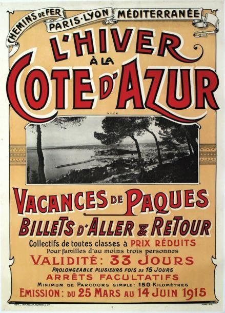 PLM - L'hiver à la Côte d'Azur - Vacances de Päques - 1915 - illustration de Giletta -