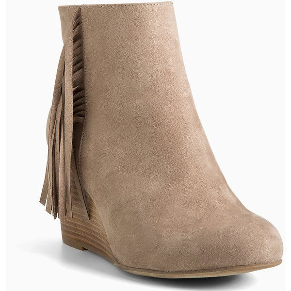 Torrid Fringe Wedge Booties (Wide Width) ($44) ❤ liked on Polyvore featuring…