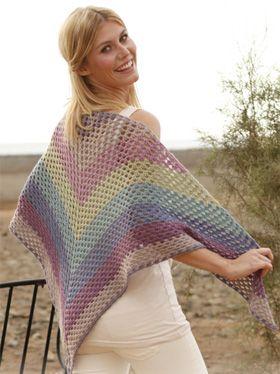 Hæklet regnbue-sjal (Jeg har lavet 2 og de er rigtig nemme at hækle)