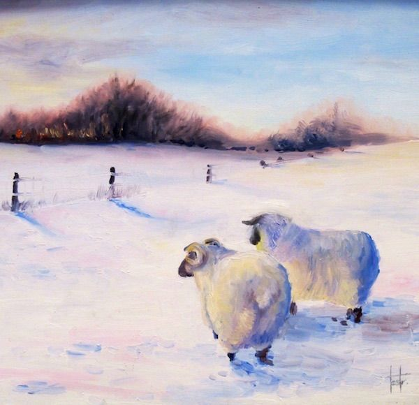 'Sheep in snow' oil on board