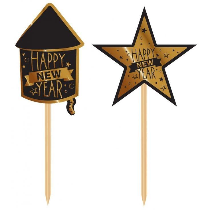 Luxe cocktailprikkers Happy New Year 20 stuks. Luxe cocktailprikkers bestaande uit 10 zwarte vuurpijl prikkers en 10 gouden sterren prikkers. Materiaal: karton en hout.