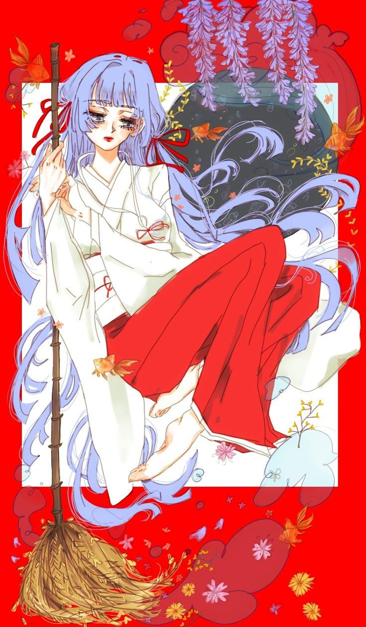 꿈을 쓸어 담는 무녀, 일본, 꽃, 리본, 머리카락, 캐릭터, 디자인