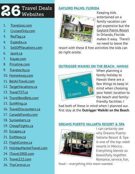 """26 of The Best Travel Deal Sites as featured in """"The Best of EverythingMom"""" magazine."""