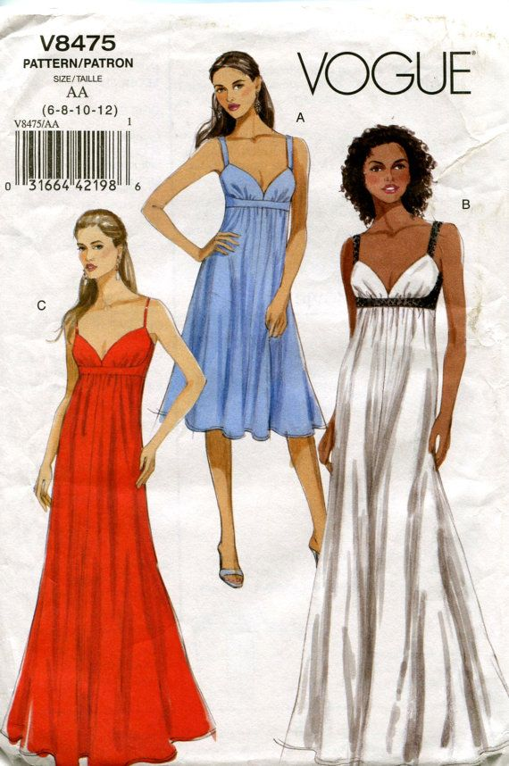 EMPIRE Dress COCKTAIL EVENING Gown Pattern by DesignRewindFashions