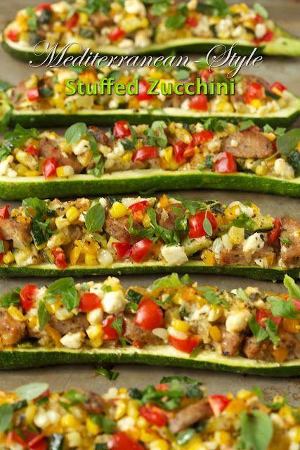 Get ready!!! Zucchini season wil soon be upon us!! Mediterranean-Style Stuffed Zucchini - thecafesucrefarine.com