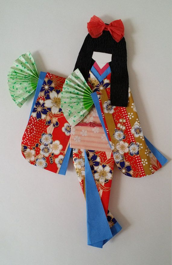 Marcador de Washi Ningyo muñecas de papel Kimono por Kitspaperworld
