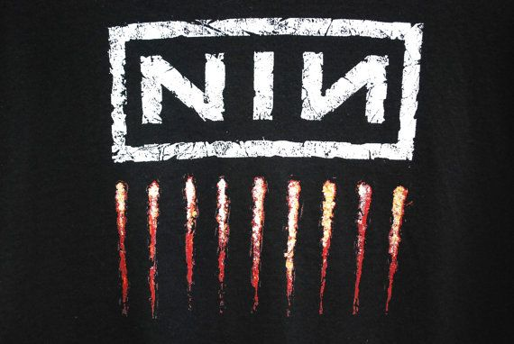 90s Vintage Black Nine Inch Nails T Shirt by GamineRagVintage