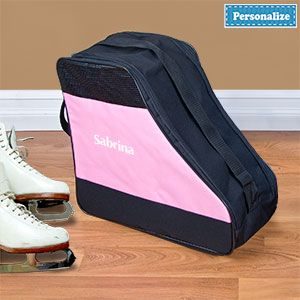 """Product # AP6712P - Double zipper, strong carrying handle, holds regular or inline skates. Includes pocket for keys / change, and strap is adjustable. Durable bag has breathable mesh near top and reinforced bottom with plastic feet. Personalize with up to 12 characters. 17""""L x 15""""H x 7""""W $29.98"""