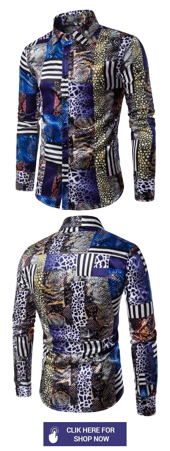 Turndown Collar 3D Snakeskin Pattern Print Panel Shirt