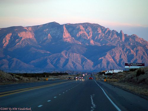 Sandia Mountains by Albuquerque, New Mexico. Sandia means watermelon. When the sun sets, the mountains look red like a watermelon.