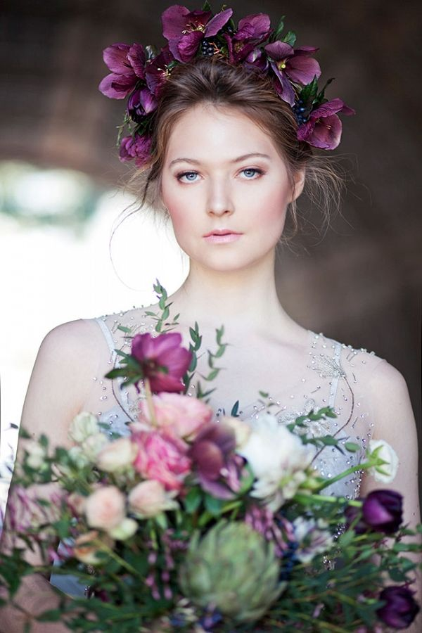 Oversized Floral Crown Art Nouveau Bridal Style | Claudia McDade Photography on @StorybrdWedding via @aislesociety
