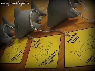 Shark party favor tags