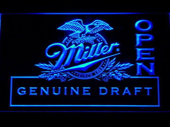 Miller Draft Beer OPEN Bar LED Neon Light Sign Man Cave 037-B