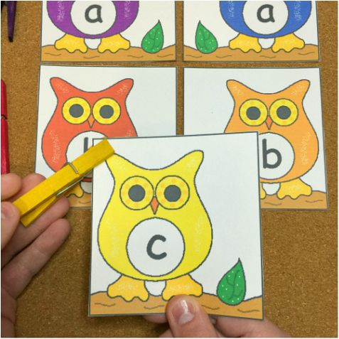 * Owl Alphabet Match and Clip Preschool and Kindergarten Activity