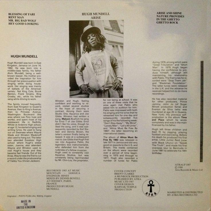 Hugh Mundell - Arise (back cover)