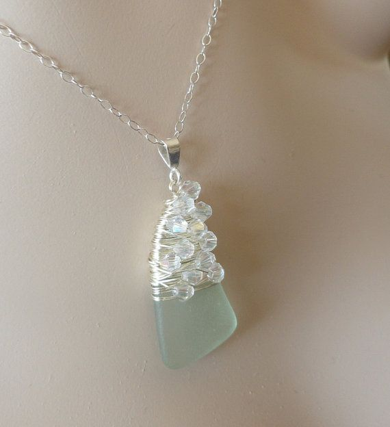 Seafoam Seaglass Charmed Necklace by wearteresajane