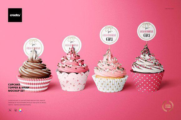 Download Cupcake Toppers Wraps Mockup Set Cupcake Toppers Template Cupcake Toppers Creative Cupcakes