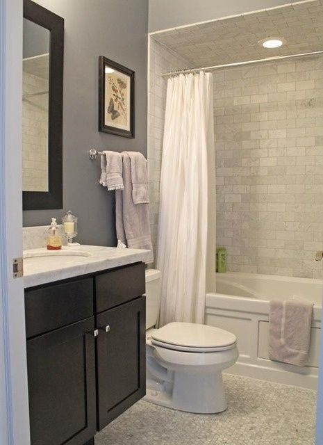 Tile - Espresso Vanity - Alcove Tub - Neutrals - Marble Top - Polished Chrome