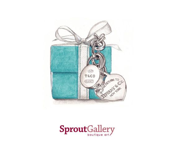 Tiffany & Co. boxed and jewellery print of by SproutGalleryDesigns, $20.00