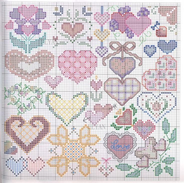 Cross stitch hearts pattern