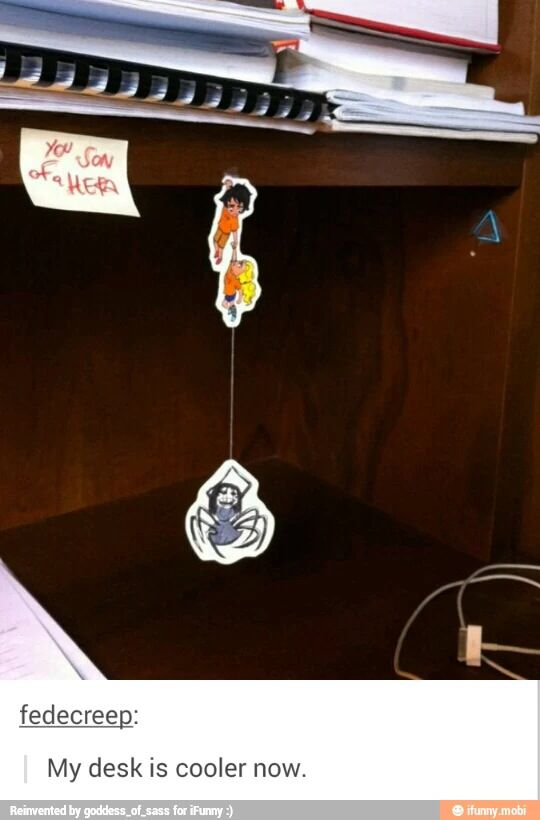 This is soo awesome! I need Percabeth at my desk now! (You son of a Hera!) xD