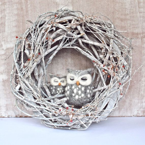 shabby winter wreath, needle felted sleeping owls, white/grey/silver twig wreath by ZanTheArtisan on Etsy