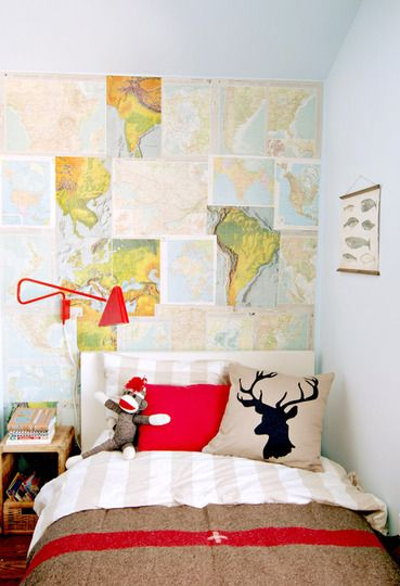 Boys room with maps, deer head & light blue walls. I'm noticing a pattern in the rooms I've pinned
