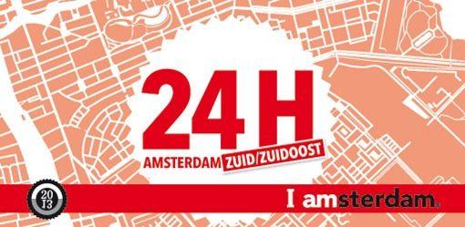 I AMSTERDAM - 24H Zuid Zuidoost - 22 en 23 juni 2013    Herontdek Amsterdam met 24H! De derde editie van 24H vindt op 22 en 23 juni 2013 plaats in Amsterdam Zuid/Zuidoost, wat betekent dat dit deel van de stad 24 uur lang al zijn pareltjes laat zien.