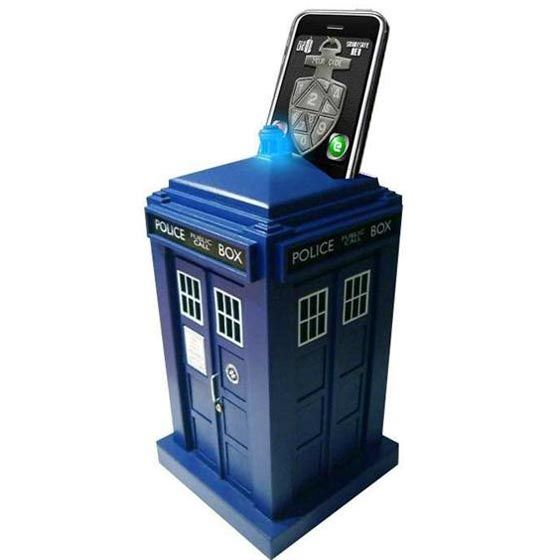 This is a real safe that will only open when a smart phone with the tardis app and combo is inserted into the top. Comes with detail inside and sounds of the tardis.